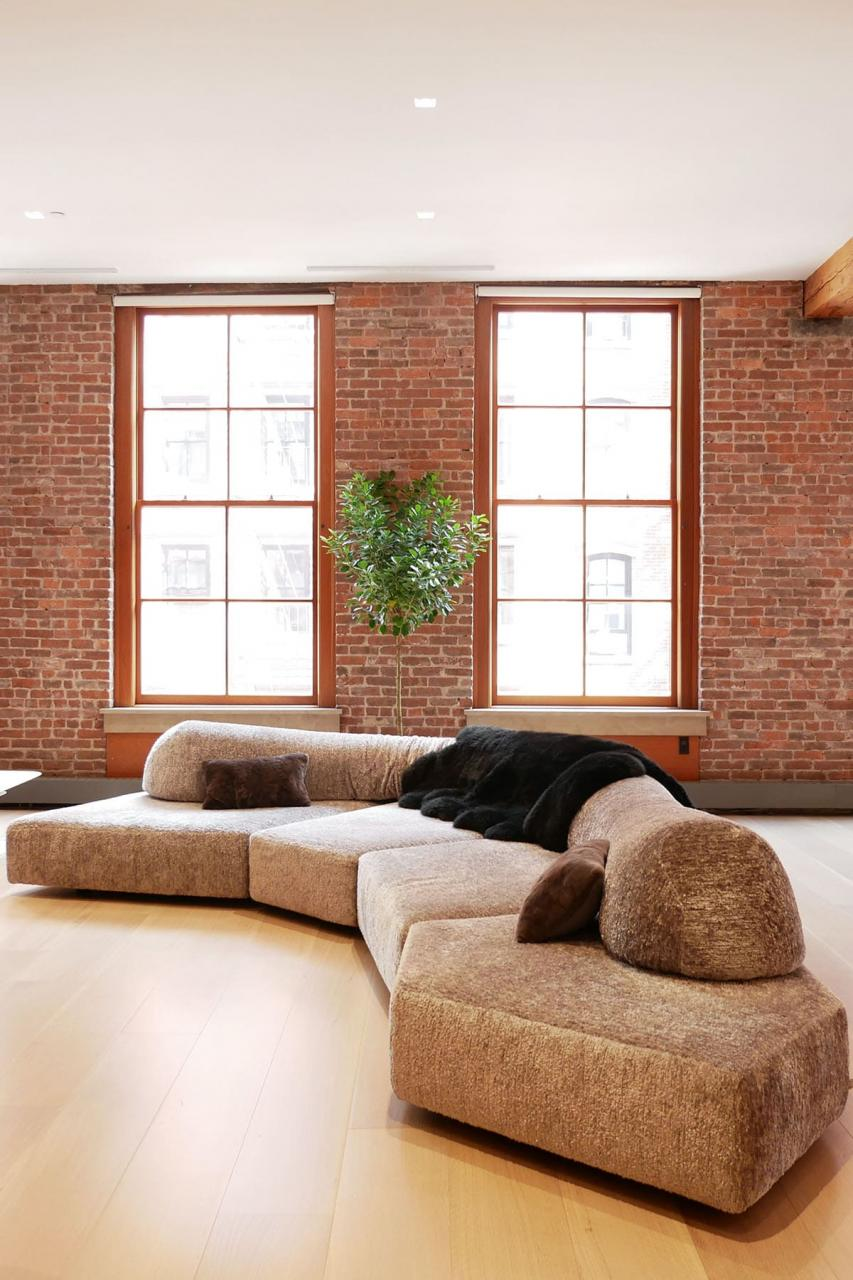Large Sectional Couch in a Manhattan Loft Apartment